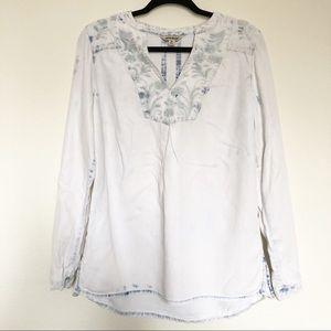 Lucky Brand Embroidery Denim Shirt M